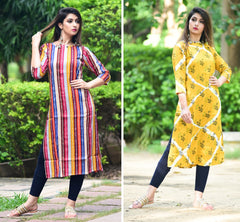 Signature Kesavi Casual Wear Women's Cotton & Rayon Printed Combo Kurti (Pack of 2)