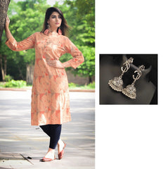 Combo Cotton Dobby Printed Kurta With Oxidised Devotional Om Trishul Earrings