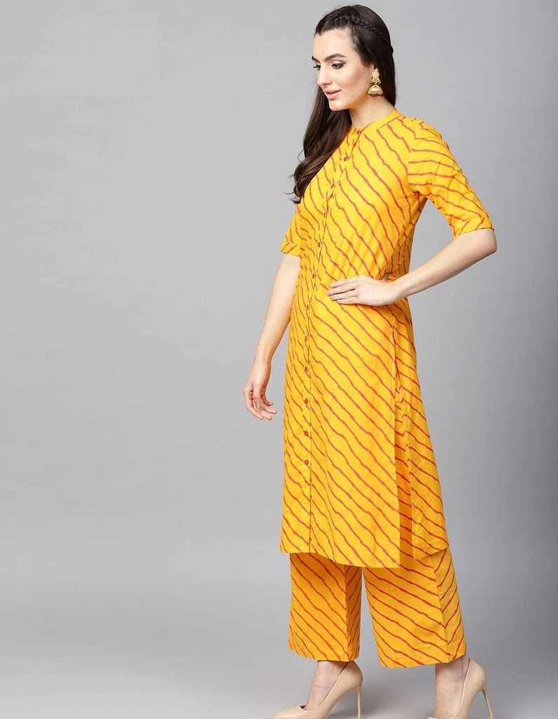 Combo Yellow & Orange Leheriya Printed Kurta With Palazzo & Dupatta With  Oxidised Devotional Om Silver Trishul Earrings