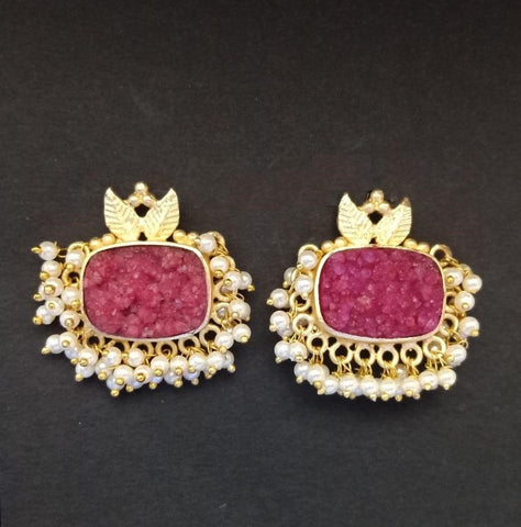 Designer Red Stone Earrings With Golden Work and Pearl