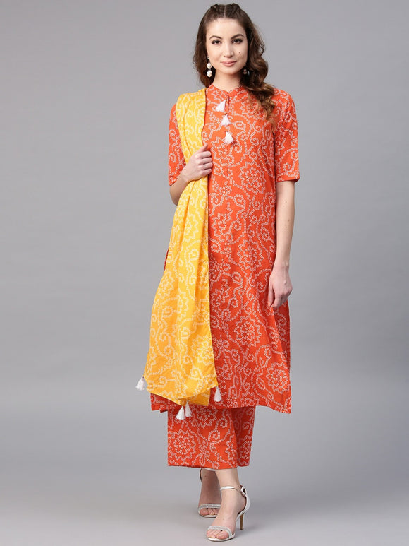 Orange Bandhani Printed Straight Kurta With Palazzo Set without Dupatta