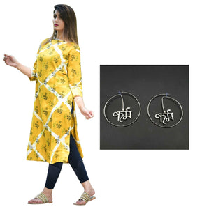 Combo Rayon Slub Straight Kurta With Round Shaped Karma Silver Earring