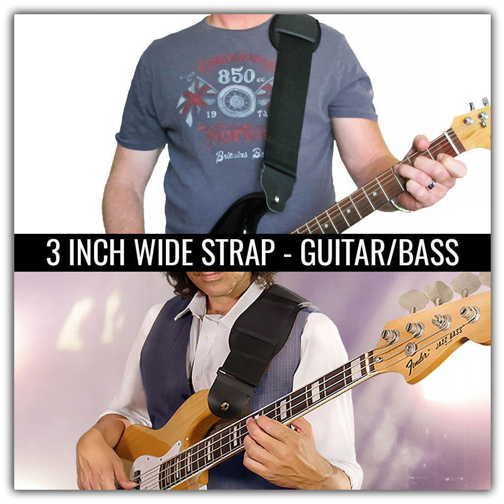 3-inch wide guitar strap for electric guitar or bass