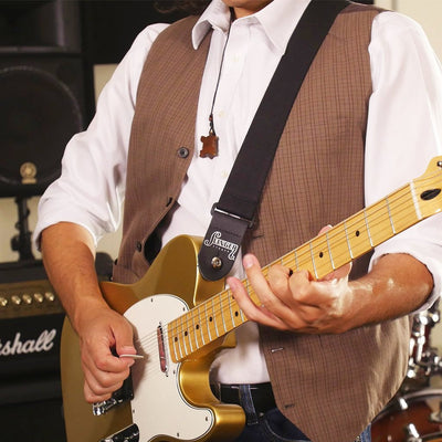John wearing comfort stretch guitar strap with a Telecaster guitar