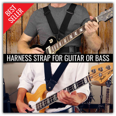 Harness double guitar strap for guitar or bass
