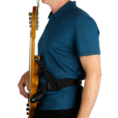 waist guitar strap with leash strap attached to top strap button to avoiding forward guitar lean on fender bass