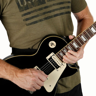 waist guitar strap with leash strap attached to top strap button to avoid forward guitar lean on gibson les paul
