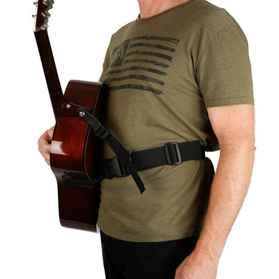 acoustic guitar strap with leash strap attached to neck strap button to avoiding guitar lean on martin guitar