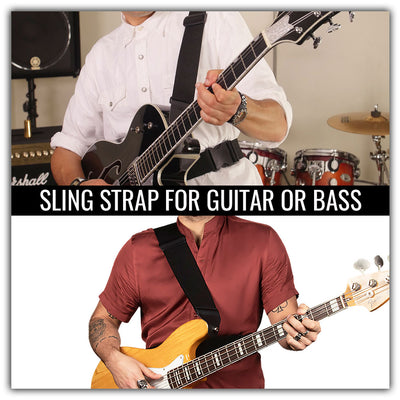 Sling strap guitar strap for electric or acoustic guitar or bass