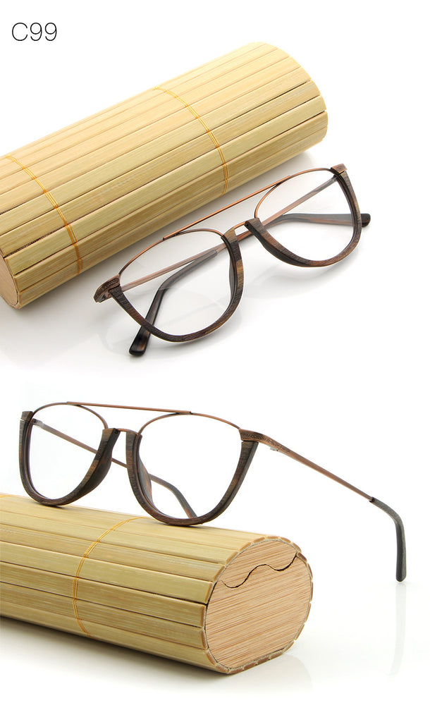 HDCRAFTER Vintage Semi Rimless Eyeglasses Wood Optical Glasses Frame ...