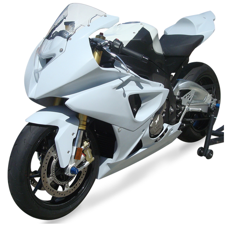 BMW S1000RR (10-14') HBR Fiberglass Race Bodywork Set - White (UP, LW, TS, FF)