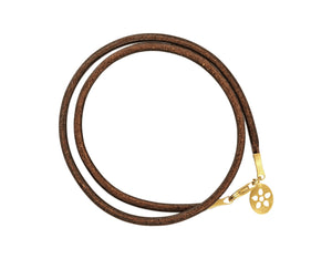 Brown leather bracelet with gold lock