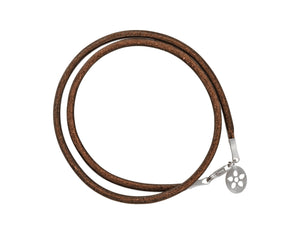 Brown leather bracelet with silver lock