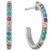 Load image into Gallery viewer, Rainbow sparkle hoops - silver