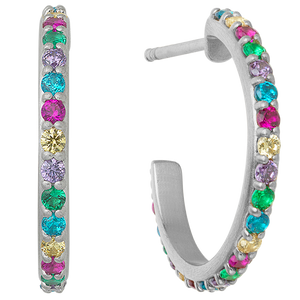 Rainbow sparkle hoops - silver
