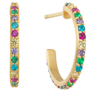 Rainbow sparkle hoops - gold