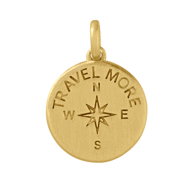 Travel more pendant - gold