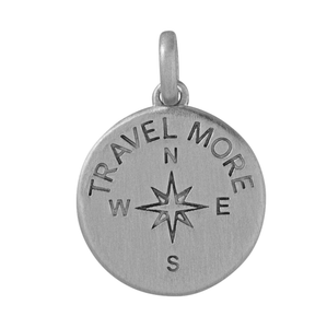Travel more pendant - silver