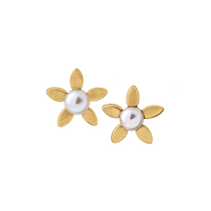 Forget-me-not pearl earring - gold