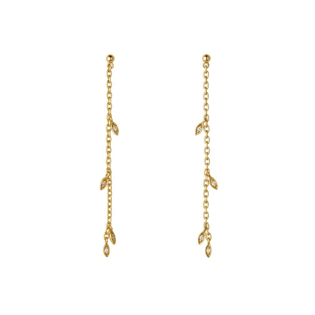Jungle Ivy sparkle string earrings - gold