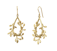 Load image into Gallery viewer, Jungle Ivy earrings show - gold