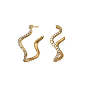 Wave hoops sparkle - gold