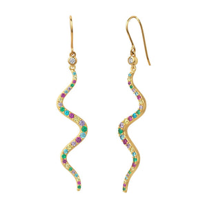 Wave rainbow earrings - gold