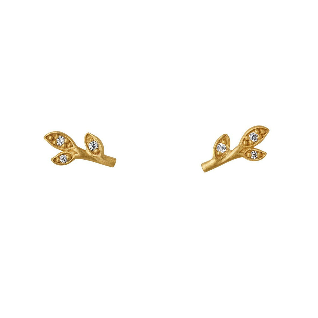 Jungle Ivy sparkle leaf earsticks - gold