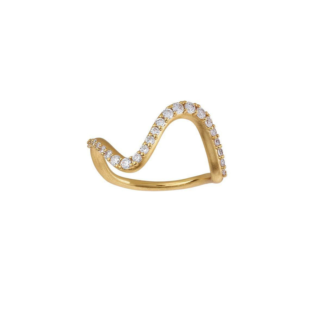 Wave sparkle ring large - gold