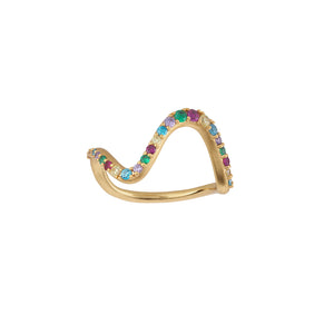 Wave rainbow ring large - gold
