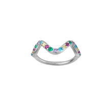 Load image into Gallery viewer, Wave rainbow ring small - silver