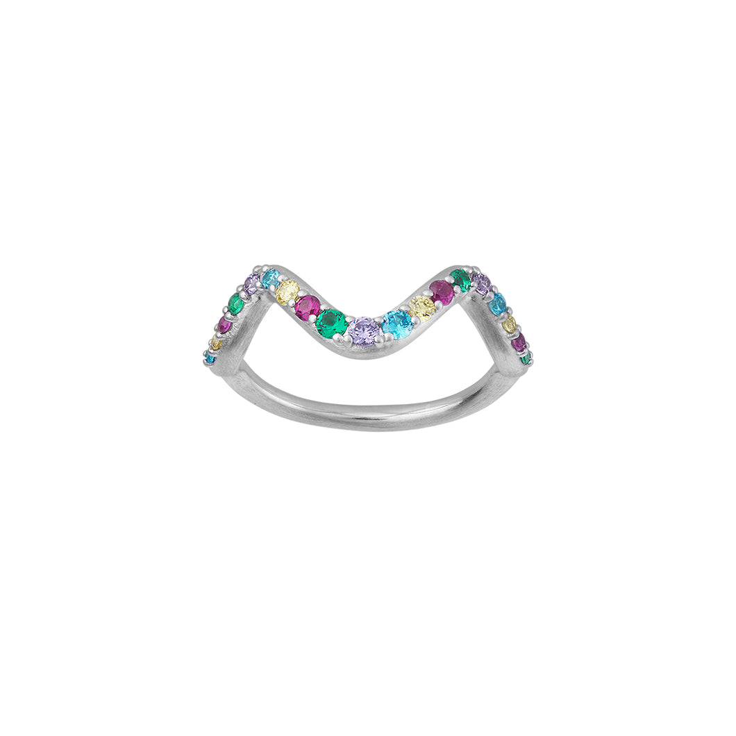 Wave rainbow ring small - silver