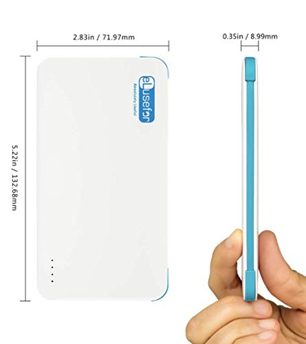 Portable iPhone Charger with Case and Reversible Cable for Both Apple Phone Charging & Kindle & Other Micro USB Accessories External Battery 5000 mAh