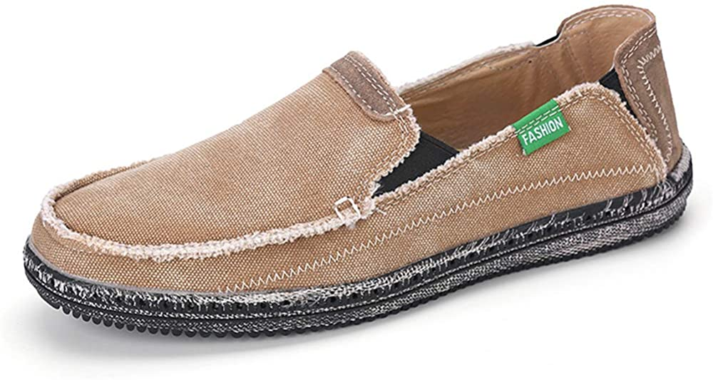 Mens Canvas Shoes Slip on Deck Shoes Boat Shoes Non Slip Casual Loafer Flat Outdoor Sneakers