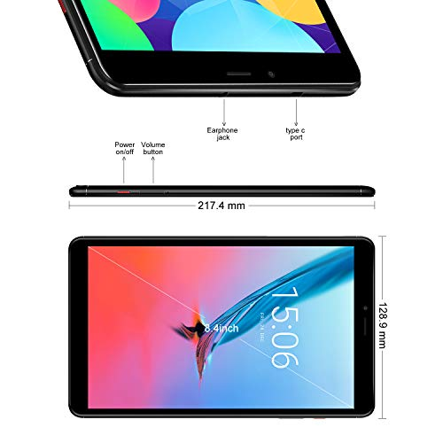 "8.4"" 4G LTE Tablet Unlocked with Dual SIM Card, 32G Android 8.0 Phablet with 2560 X 1600 FHD Touchscreen, Dual Band WiFi, BT 4.1, Type-c, GPS - BelCorner"