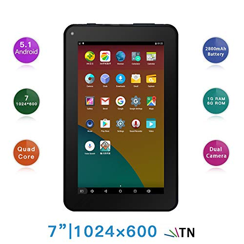 7 Inches Tablet PC - Google Android 5.1 Quad Core, 1024 x 600 Screen, 2.0MP 0.3MP Dual Camera - BelCorner