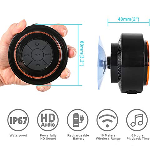Bluetooth Shower Speakers, BelCorner Portable Wireless Waterproof Speaker with FM Radio & Suction Cup, Pairs Easily to Your Bluetooth Devices - Phones, Tablets, Computer (Black & Orange)