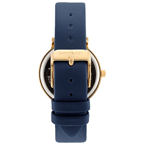 Olivia Womens Gold Numbers Wrist Watch Navy Blue Leather Band - BelCorner