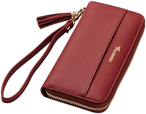 Womens Wallet Tassel Bifold Ladies Cluth Wristlet Wrist strap Long Purse - BelCorner
