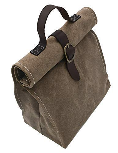 Lunch Bag | Waxed canvas | with Leather Handle | Professional or Casual. - BelCorner