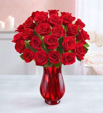 Two Dozen Red Roses Flower Bouquet with Red Vase (24 Flowers)