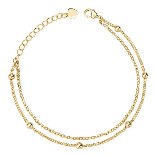 18k Gold Satellite Chain Bracelet for Women Delicate Double Layering Bracelet - BelCorner
