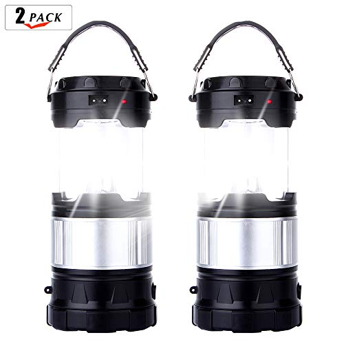 2 Pack Outdoor Camping Lamp, Portable Outdoor Rechargeable Solar LED Camping Light Lantern Handheld Flashlights with USB Charger, Perfect Hiking Fishing Emergency Lights - (2 Pack-Black) - BelCorner