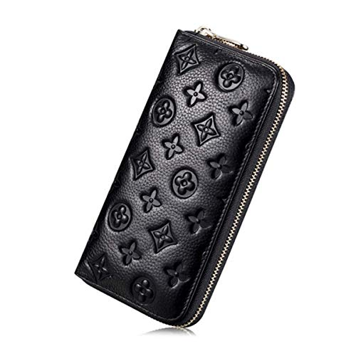 Women RFID Blocking Wallet Leather Zip Around Clutch Large Travel Purse (Black) - BelCorner