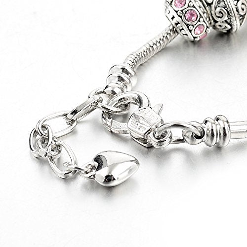 "Long Way Silver Tone Chain Pink Crystal Love Heart Bead Glass Charm Bracelet With Extender 7.5""+1.5"" - BelCorner"
