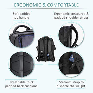 "Expandable Flight Approved Carry on Backpack for men Overnight Weekender for Travel & Business Waterproof Fits 15"" Laptop With Packing Cube, Shoe Pouch & Laundry Bag  - BelCorner"