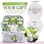 Body Gift Basket For Women - 14 Piece Set in White Jasmine Scent - Home Spa Set with 6 Bath Bombs, Lotions, Roses Soap, Hand Crafted White Sequined Cosmetics Bag and More - BelCorner