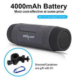 Bluetooth Bicycle Speaker Zealot S1 Bike Cycling Portable Speakers Waterproof, 4000mAh Power Bank, LED Light, TF Card Play, with Full Outdoor Accessories(Bike Mount, Carabiner.)(Blue)