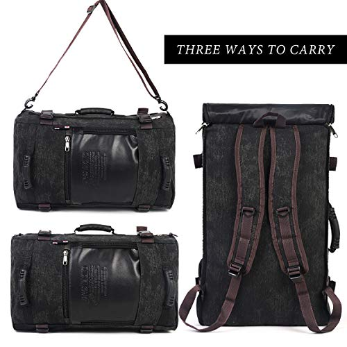 Travel Backpack,Large Weekender Waterproof Canvas Hiking Backpack Convertible Duffel Bag for Men,Black - BelCorner