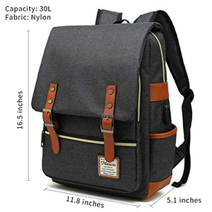 Slim Vintage Laptop Backpack For women,Men For Travel, College,School Dayparks, Fits up to 15.6Inch Macbook